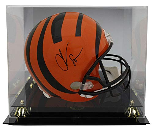 Chad Johnson Autographed Football - Chad Johnson Autographed Signed Cincinnati Bengals Replica Helmets BAS With Deluxe Football Helmet Display Case