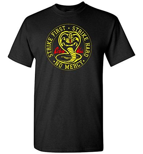 Nurdtyme Cobra Kai Karate Kid T-Shirt Tee Youth Strike First Strike Hard No Mercy (Strike T-shirt Youth)