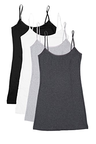 RT1002 PK Ladies Adjustable Spaghetti Strap Long Tank Top 4Pack - BLK/WHT/H.CHC/H.Grey M from Bozzolo