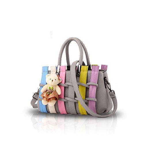 NICOLE&DORIS Las mujeres de moda color bolso Crossbody hombro bolso bolso de compras bolsa de largo maneja PU para las damas Negro Gris Claro