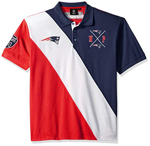 New England Patriots Cotton Rugby Polo Diagonal Stripe Large