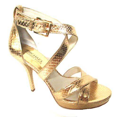 Michael Kors Evie Platform Metallic Leather Heels Gold Size 7M