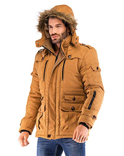 Yozai Mens Military Winter Coat with Multi Pockets and Detachable Fur Hooded Mustard Yellow Large