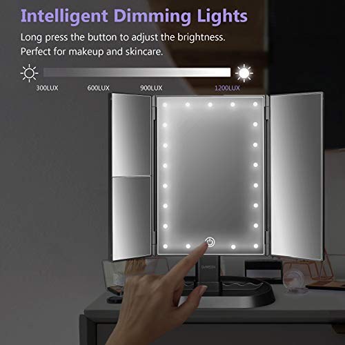 deweisn Trifold Lighted Vanity Makeup Mirror with 21 LEDs Lights,1x/2x/3x Magnification and Touch Screen Dimming,Two…