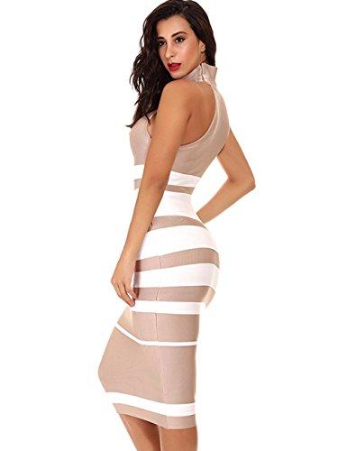 Della Collo Lungo Dalla Bodycon Maketina Del Fasciatura Vestito Nudo Banda Alta Casuale Donne Sleeveless Di avxwTqfx