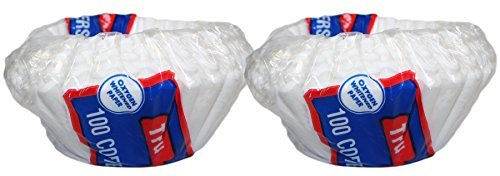 Set of 200 Disposable Basket Type 10-12 Cup Paper Coffee Filters Flat Bottom (200) ()
