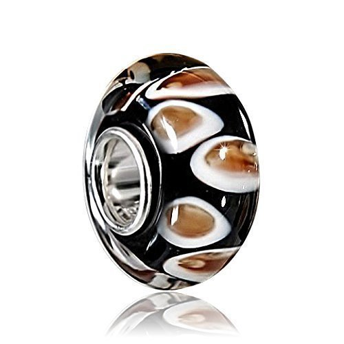 MATERIA perle de murano orange paon marron 13 x 7 mm en argent 925 charm tâches - 1250 noir