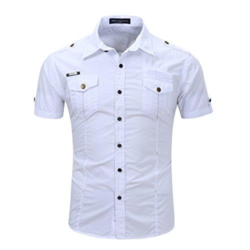 (Mens Casual Military Shirt, Short Sleeve Shirts Army Style Shirt, Two Pockets Man Shirt (M, White))