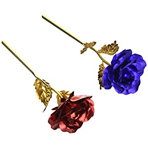 Unite Stone Monther Day Gift 24K Gold Foil Artificial Rose Flower Birthday Gift 8