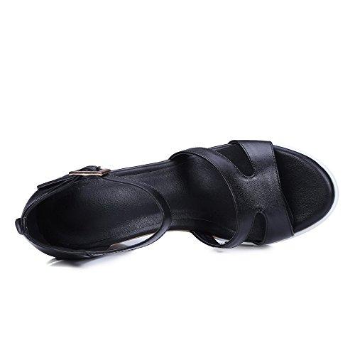 AllhqFashion Mujeres Hebilla Puntera Abierta Plataforma Sólido Sandalia Negro