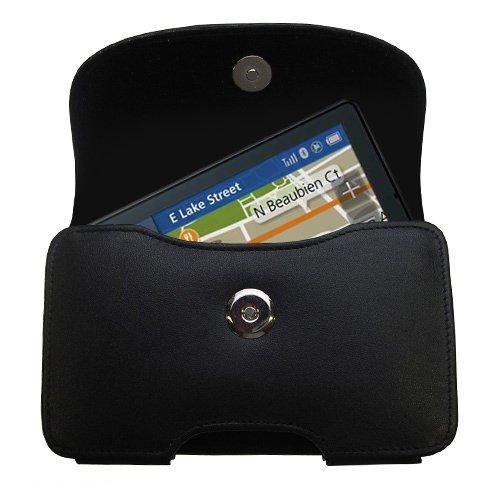 Motorola Leather Pda Case - Designer Gomadic Black Leather Motorola MOTONAV TN555 Belt Carrying Case - Includes Optional Belt Loop and Removable Clip