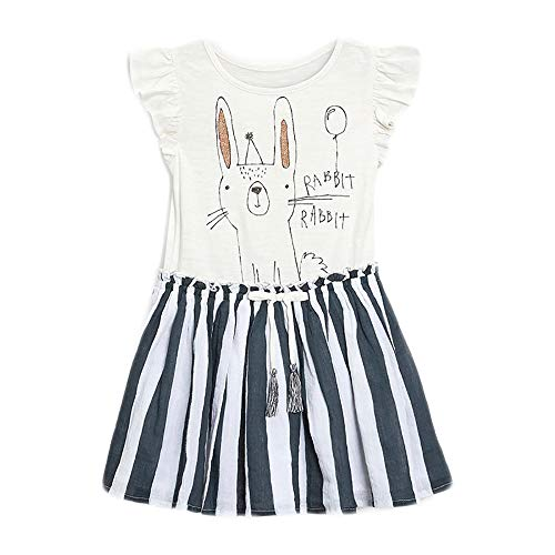 Little Girls Summer Casual Dress - Flower/Unicorn/Easter Bunny Toddler Cotton Outfit Size 4T]()