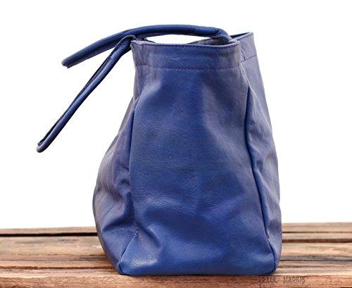 MON PARTENAIRE taglia M blu elettrico cuoio tote bag in stile vintage PAUL MARIUS