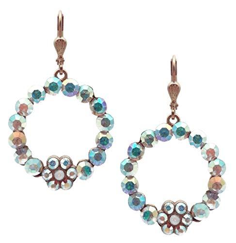Catherine Popesco Crystal AB & White Opalescent Swarovski Crystal Round Flower Goldtone Dangle Earrings