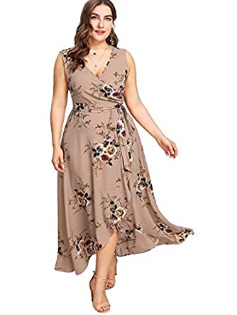 Milumia Plus Size Fit and Flare Empire Waist Floral Printed Sleeveless Dress V Neck Sundress Brown 0XL