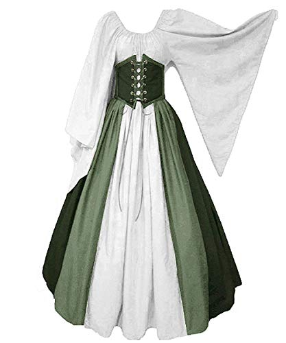 Abaowedding Women's Renaissance Medieval Costumes Dress Trumpet Sleeves Gothic Retro Gown Green 2X-Large -