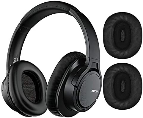 Mpow H7 Plus Bass Bluetooth Headphone Over Ear, Wireless Headphones with Replaceable Earmuffs, Rechargeable CVC6.0 Bluetooth Headset, HiFi Stereo Headset with Mic for Cellphone Tablet PC