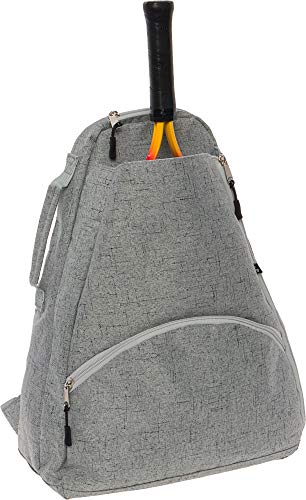 LISH Men's Court Advantage Tennis Backpack - Racket Holder Sport Bag for Tennis, Racquetball, Squash (Grey)