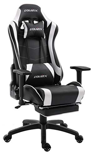 Dowinx Gaming Chair Ergonomic Racing Style Recliner with Massage Lumbar Support, Office Armchair for Computer PU Leather E-Sports Gamer Chairs with Retractable Footrest (Black&White)