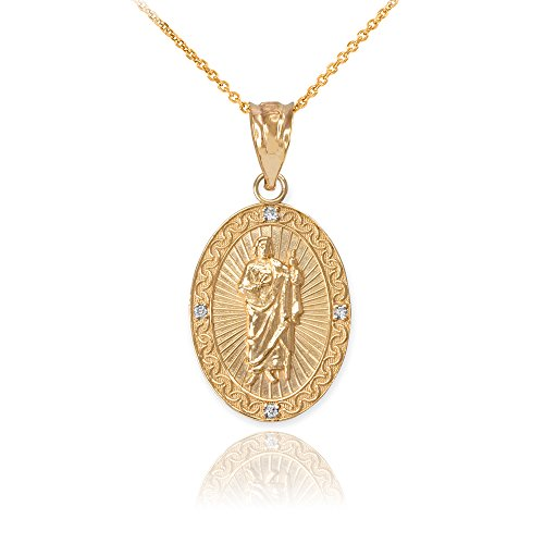 (10k Gold Oval Saint Jude Thaddeus Diamond Medal Pendant Necklace (Small), 16