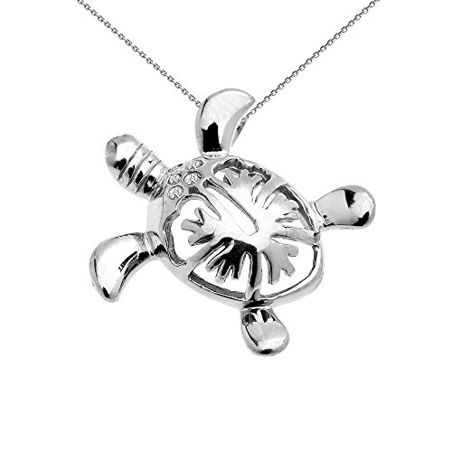 Collier Femme Pendentif 10 Ct Or Blanc Diamant Hawaiienne Honu Tortue Caché Caution (Livré avec une 45cm Chaîne)