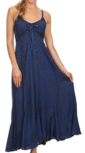 Sakkas 152105 - Allie Stonewashed Embroidered Adjustable Spaghetti Straps Long Dress - Navy - 1X/2X