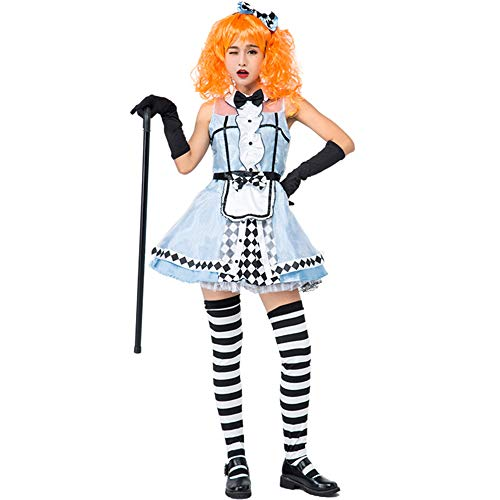 Honfill Queen Costume Novelty Light Blue Dress with Black Gloves Stocking