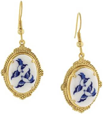 Gold-Tone Blue and White Bird Design Drop Earrings