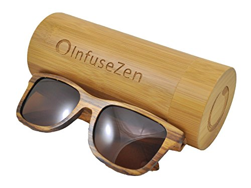 Zebra Wood Sunglasses, Wooden Sun Glasses for Men & Women, Trendy Unisex Shades (with Tea Colored - Sunglasses Wooden Womens