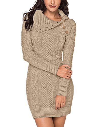 Lookbook Store Women's Asymmetric Button Collar Cable Knit Bodycon Sweater Dress Khaki Size L ()