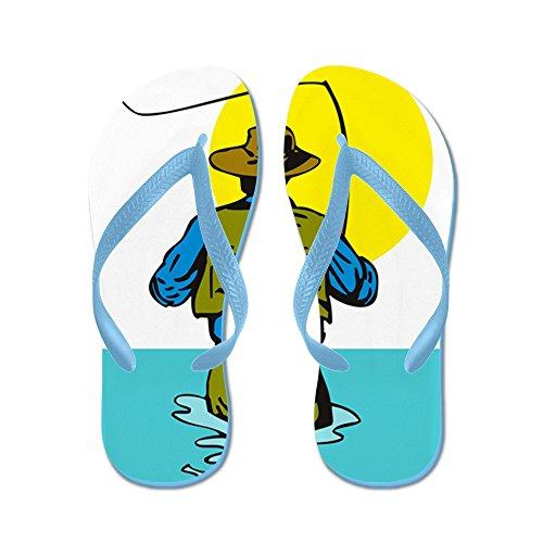 Cafepress Vliegende Visser Gieten - - Slippers, Grappige Leren Sandalen, Strand Sandalen, Caribbean Blue