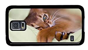 Hipster water proof Samsung Galaxy S5 Case sleepy cat hd PC Black for Samsung S5