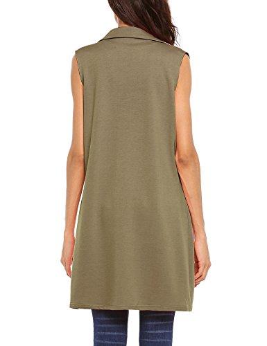 Beyove Women's Sleeveless Long Open Cardigan Vest Blazer Vests,XX-Large,Khaki by Beyove (Image #2)