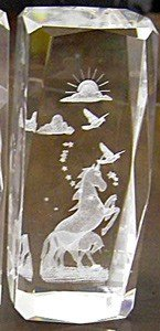 AIE 3D Laser Engraved Crystal Decoration for Home Unicorn 4.7