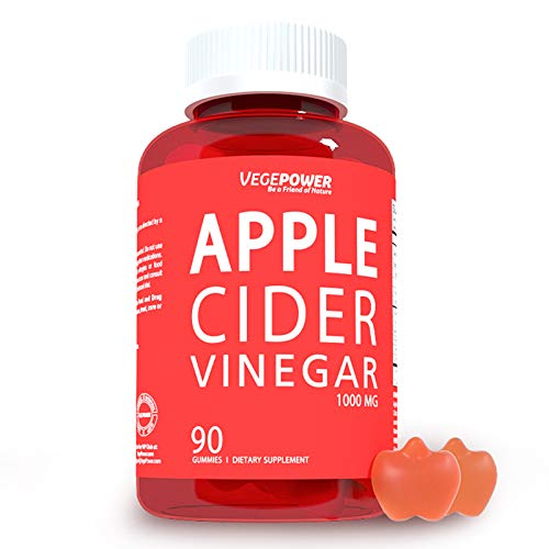 VegePower Apple Cider Vinegar Gummies for Immune System - Organic, Cleanse & Weight, Energy-Support Detox, Vitamin B6, B12 (1000mg Vegan Vitamin Gummy, Alternative to ACV Capsules, Pills, Tablets)-90 Gummies