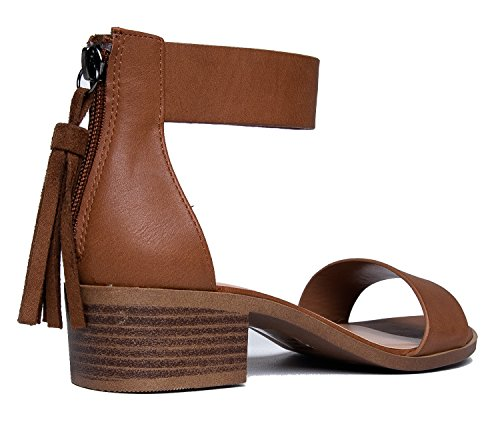 Pu Low J Dark Heel Ankle Block Cute Kitten – Leather Vegan Faux Adams Sandal Strappy Tan Heel Strap Midori 1wvSU1
