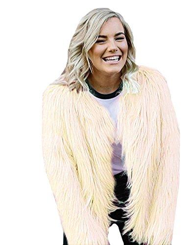 Price comparison product image Anself Women's Solid Color Long Sleeve Shaggy Faux Fur Short Coat Jacket