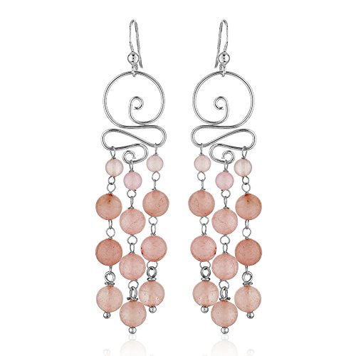 925 Sterling Silver Swirl Synthetic Pink Rose Quartz Gemstone Spheres Long Dangle - Stone Synthetic Earrings