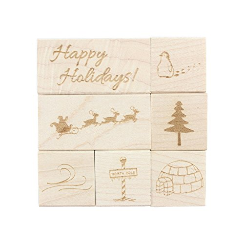 Holiday Engraved Wood Rubber Stamp Set - 7 Pieces ()