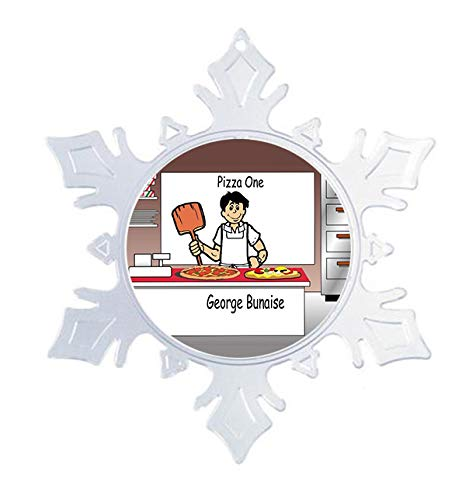 PrintedPerfection.com Personalized Snowflake Christmas Ornament NTT: Pizza Maker Male Pizza Shop, Dominos