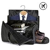 SUVOM Suit Travel Bag Suit Bag Carrier Luggage Change to Travel Duffel Bag for Men Women Overnight Weekend Flight Bag with Shoe Pouch Garment Bag with Detachable Shoulder Strap,Black