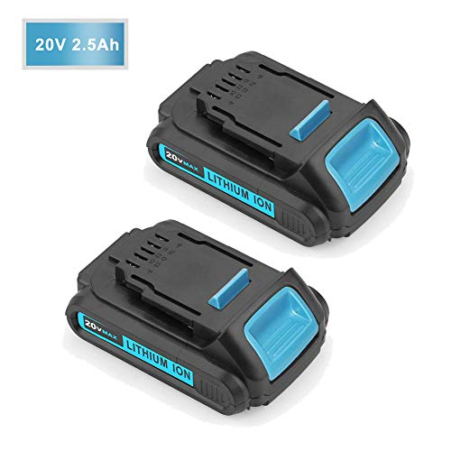 2.5Ah for Dewalt 20V Battery Lithium ion MAX DCB201 DCB203 DCB207 Replacement xr 1/2 inch Compact Cordless Drill Driver Kit 2Packs