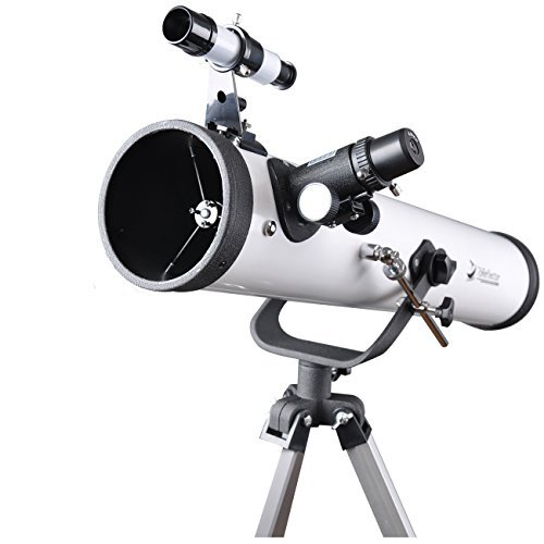 76mm AZ Telescope Moon Observing Reflector Telescope with Tripod and 1.25 Inch 10mm Eyepiece Smartphone Adapter - Get Started with Astronomy ()
