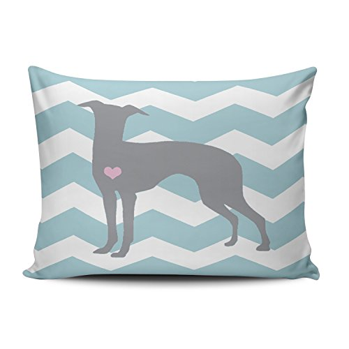 SALLEING Custom Beauty Design Blue and White Italian Greyhound Decorative Pillowcase Pillowslip Throw Pillow Case Cover Zippered One Side Printed 12x18 Inches