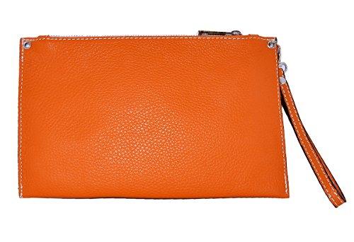 in Orange Genuine Clutch bag Italy LINA BORDERLINE Leather 100 Made S4SRfp