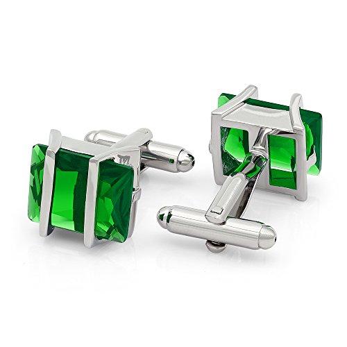 - Kemstone Green Cubic Zirconia Crystal Cufflinks Silver Tone Jewelry for Men