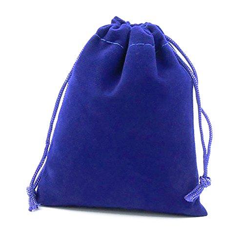10Pcs Thick Drawstring Velvet Cloth Jewelry Pouch Pocket Gift Bag Pouches Set Royal Blue 4x6