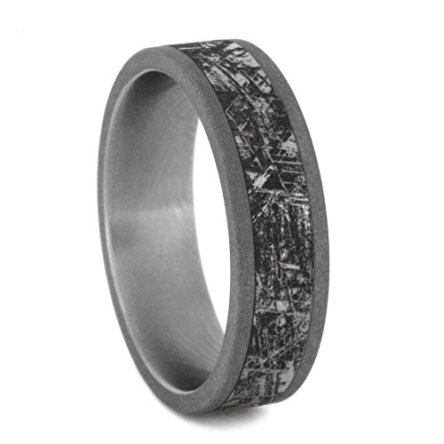 Mimetic Meteorite Inlay 6mm Comfort-Fit Titanium Wedding Band, Size 8.25 by The Men's Jewelry Store (Unisex Jewelry)