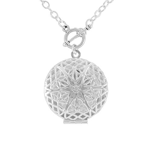 Front Toggle Clasp Silver Tone Handmade Aromatherapy Essential Oil Diffuser Locket Necklace