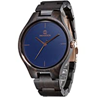 [Patrocinado] Reloj analógico de madera de ébano, reloj de pulsera de cuarzo para hombres, reloj vintage hecho a mano de la marca Iwooden, L, Azul